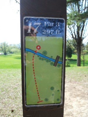 Memorial Park, Main course, Hole 17 Hole sign