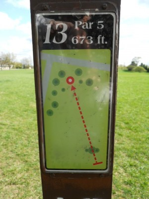 Memorial Park, Main course, Hole 13 Hole sign