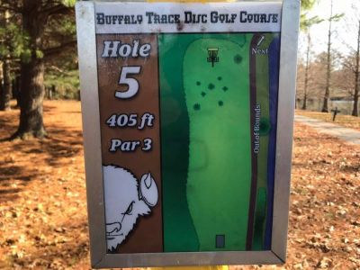 Buffalo Trace Park, Main course, Hole 5 Hole sign