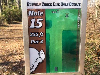 Buffalo Trace Park, Main course, Hole 15 Hole sign