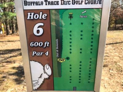 Buffalo Trace Park, Main course, Hole 6 Hole sign