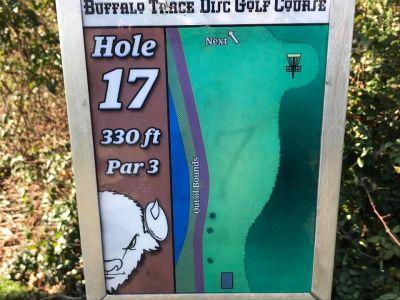 Buffalo Trace Park, Main course, Hole 17 Hole sign