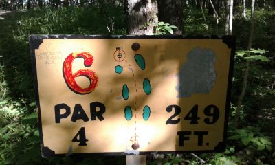 Honeybear Hollow Campgrounds, Main course, Hole 6 Hole sign