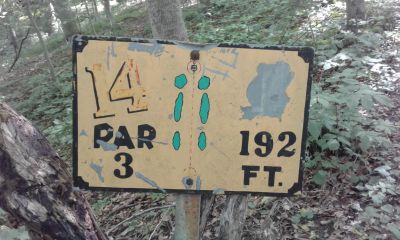 Honeybear Hollow Campgrounds, Main course, Hole 14 Hole sign