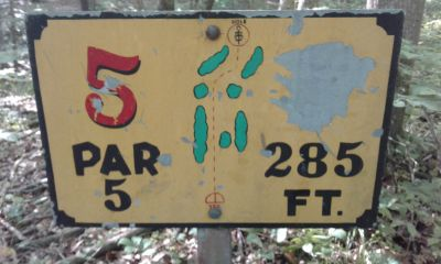 Honeybear Hollow Campgrounds, Main course, Hole 5 Hole sign