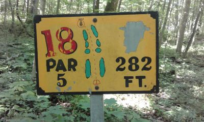 Honeybear Hollow Campgrounds, Main course, Hole 18 Hole sign