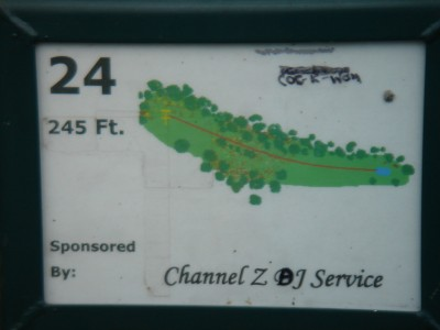 Rogers Lakewood Park, Main course, Hole 24 Hole sign