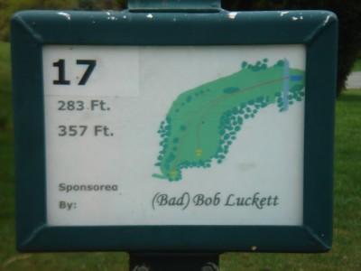 Rogers Lakewood Park, Main course, Hole 17 Hole sign