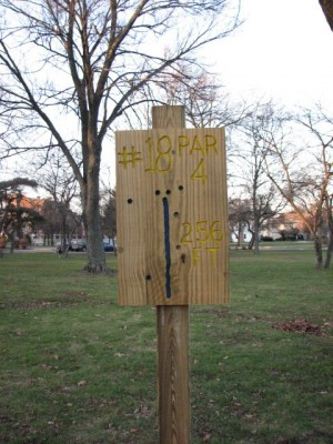 Garfield Park, Main course, Hole 18 Hole sign
