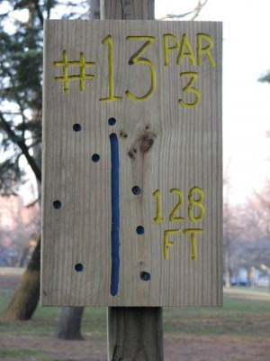 Garfield Park, Main course, Hole 13 Hole sign