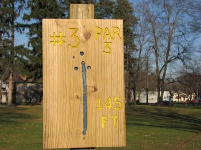 Garfield Park, Main course, Hole 3 Hole sign