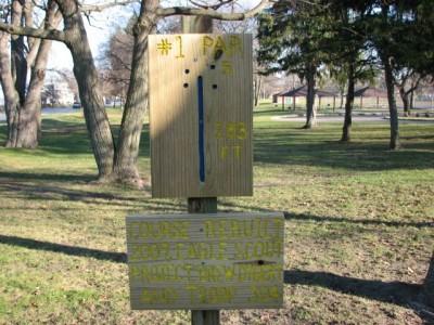 Garfield Park, Main course, Hole 1 Hole sign