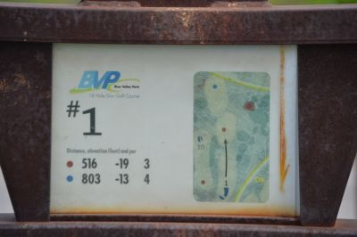 Blue Valley Park, Championship course, Hole 1 Hole sign