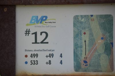 Blue Valley Park, Championship course, Hole 12 Hole sign
