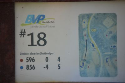Blue Valley Park, Championship course, Hole 18 Hole sign
