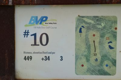 Blue Valley Park, Championship course, Hole 10 Hole sign