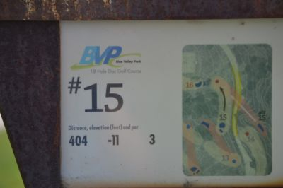 Blue Valley Park, Championship course, Hole 15 Hole sign