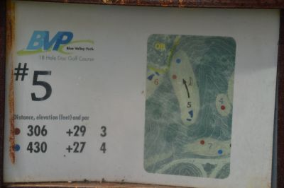 Blue Valley Park, Championship course, Hole 5 Hole sign