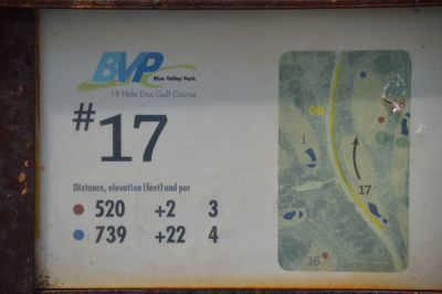 Blue Valley Park, Championship course, Hole 17 Hole sign