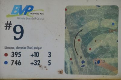Blue Valley Park, Championship course, Hole 9 Hole sign