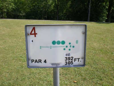 Baw Beese Lake / Owen Park, Main course, Hole 4 Hole sign