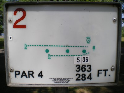 Baw Beese Lake / Owen Park, Main course, Hole 2 Hole sign