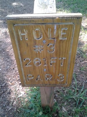 Holmes Park, Main course, Hole 3 Hole sign