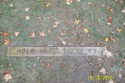 Hughes Park, Main course, Hole 13 Hole sign