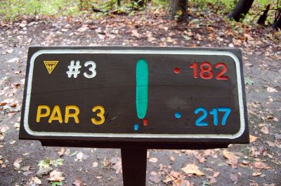 Willow Metropark, Main course, Hole 3 Hole sign