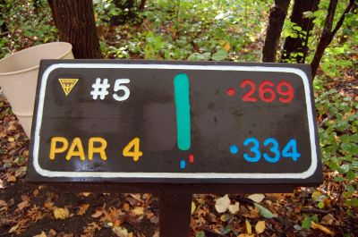 Willow Metropark, Main course, Hole 5 Hole sign