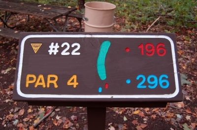 Willow Metropark, Main course, Hole 22 Hole sign
