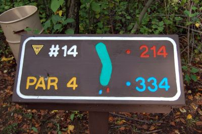 Willow Metropark, Main course, Hole 14 Hole sign