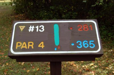 Willow Metropark, Main course, Hole 13 Hole sign