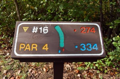 Willow Metropark, Main course, Hole 16 Hole sign