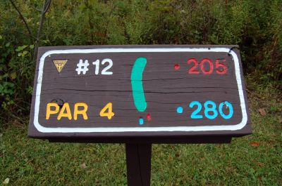 Willow Metropark, Main course, Hole 12 Hole sign