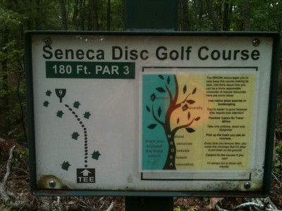 Shaver Recreation Center, Main course, Hole 9 Hole sign