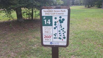 Newport News DGC, Main course, Hole 14 Hole sign