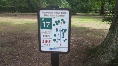 Newport News DGC, Main course, Hole 17 Hole sign
