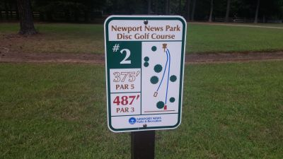 Newport News DGC, Main course, Hole 2 Hole sign