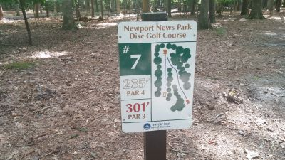 Newport News DGC, Main course, Hole 7 Hole sign