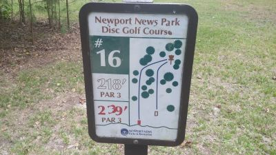 Newport News DGC, Main course, Hole 16 Hole sign