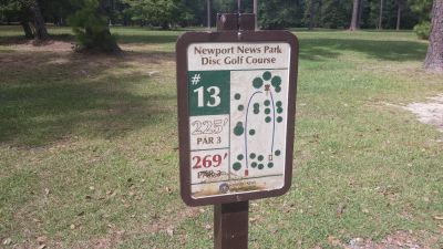 Newport News DGC, Main course, Hole 13 Hole sign