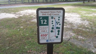 Newport News DGC, Main course, Hole 12 Hole sign