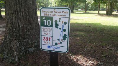 Newport News DGC, Main course, Hole 10 Hole sign