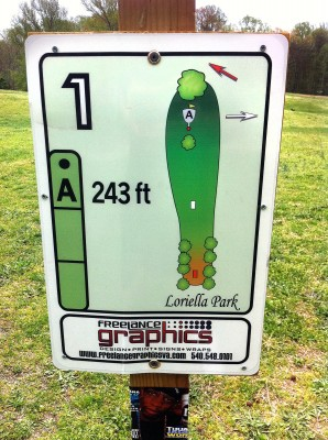 Loriella Park, Main course, Hole 1 Hole sign