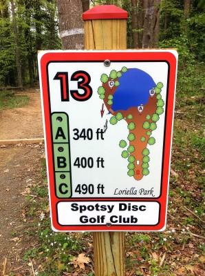 Loriella Park, Main course, Hole 13 Hole sign