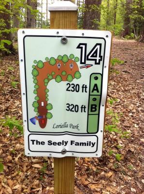 Loriella Park, Main course, Hole 14 Hole sign