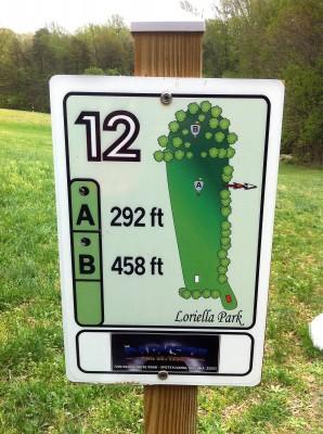 Loriella Park, Main course, Hole 12 Hole sign