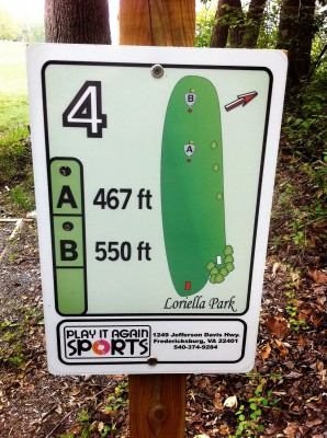 Loriella Park, Main course, Hole 4 Hole sign