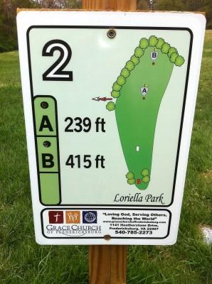 Loriella Park, Main course, Hole 2 Hole sign